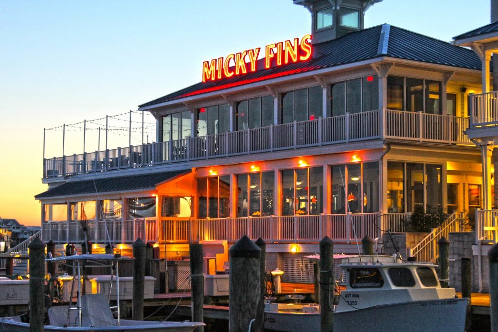 A restaurant above a dock called Micky Fiins