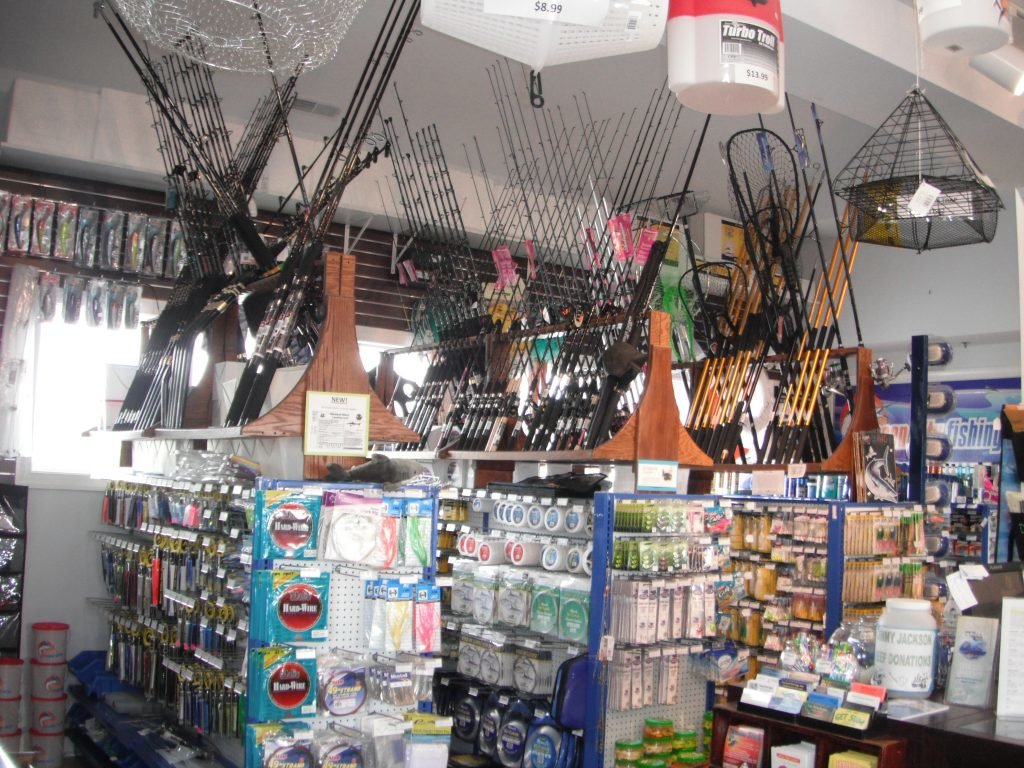 The inside of a bait, tackle and apparel shop